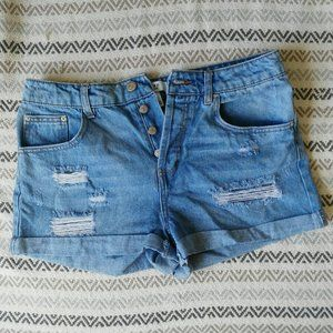 Forever 21 High Waisted Distressed Denim Shorts